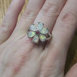 Jewelry - White fire opal ring Size 9-10